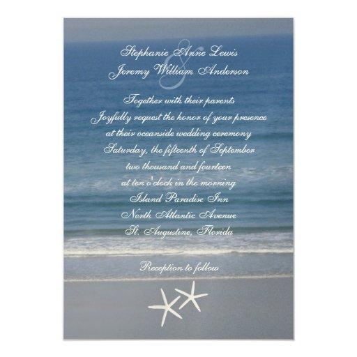 "Ocean Love Starfish Couple Wedding Invitations 5"" X 7"" Invitation Card"