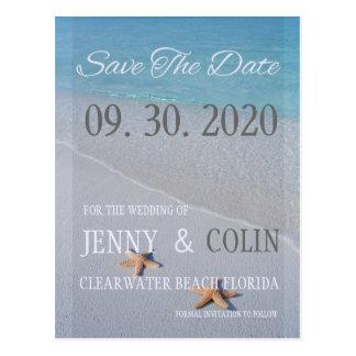 Ocean Love Starfish Photo Save The Date Postcard