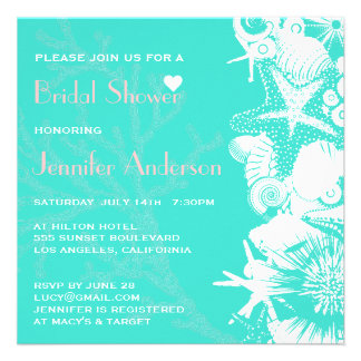 Ocean Love Teal Seashells Chic Bridal Shower Custom Announcements