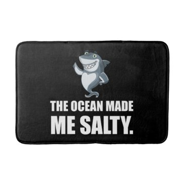 Beach Themed Ocean Made Me Salty Shark Bathroom Mat
