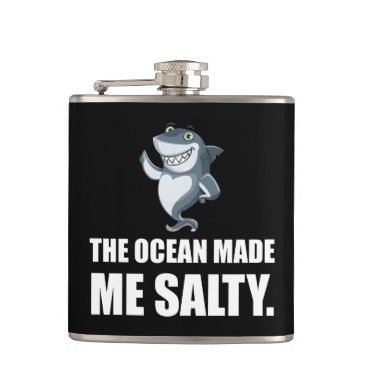 Beach Themed Ocean Made Me Salty Shark Flask