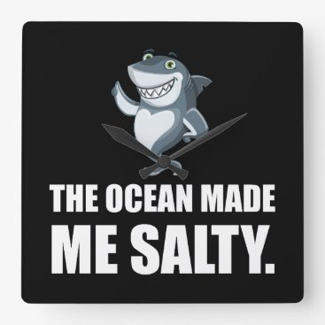 Beach Themed Ocean Made Me Salty Shark Square Wall Clock