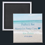 """Ocean Magnet for couples in love<br><div class=""""desc"""">Ocean Magnet for couples in love.Custom with couples names,  wedding date and location.</div>"""