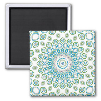 Ocean Mandala in Blue and Gray and White 2 Inch Square Magnet