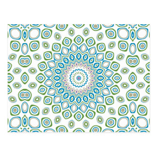 Ocean Mandala in Blue and Gray and White Postcard