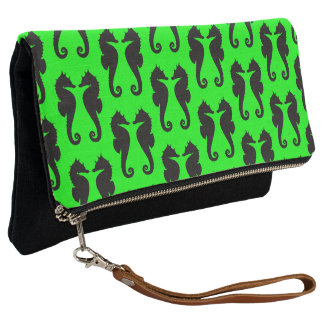Ocean Marine Black Seahorses on Lime Green Clutch