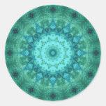 Ocean Medallion Kaleidoscope Round Stickers