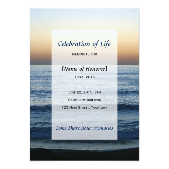 Ocean Memorial Celebration Of Life Invitation Zazzle Com