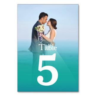 Ocean Mist Wedding Photo Table Number Cards