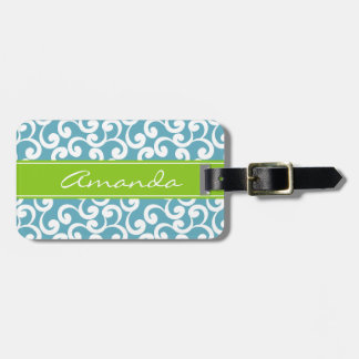 Ocean Monogrammed Elements Print Luggage Tag