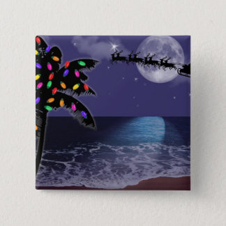 Ocean Moonlight Christmas Holiday Pinback Button