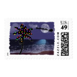 Ocean Moonlight Christmas Holiday Postage Stamp