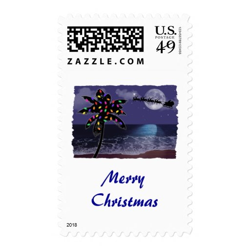 Ocean Moonlight Christmas Holiday Stamps