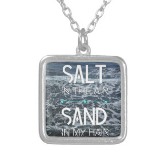 Ocean motivation silver plated necklace