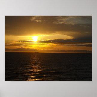 Ocean Mountain Sunset Scene Alaska Posters