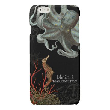 Beach Themed Ocean Nautical Sea Horse Octopus Red Coral Etching Glossy iPhone 6 Case
