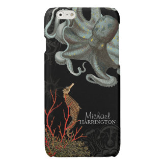 Ocean Nautical Sea Horse Octopus Red Coral Etching Glossy iPhone 6 Case