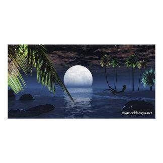 Ocean Night Moon Setting Photo Card