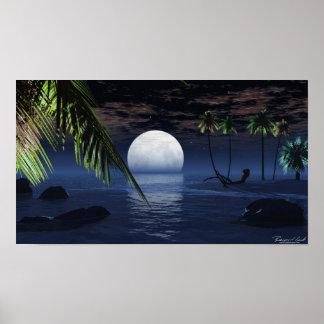 Ocean Night Moon Setting Print