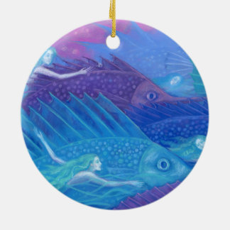 """Ocean nomads"" fantasy art, mermaids, fishes & sea Ceramic Ornament"