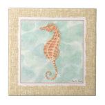 Ocean Orange Seahorse Ceramic Tile