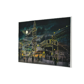 Ocean Park Pier at Night from Dome Hotel Canvas Print