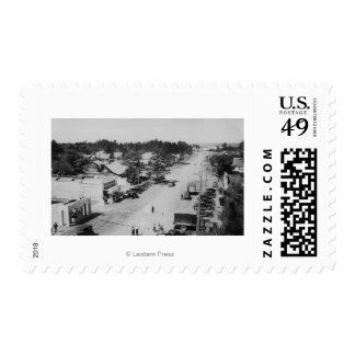 Ocean Park, WA - View of Beach, Old Cars Postage Stamp