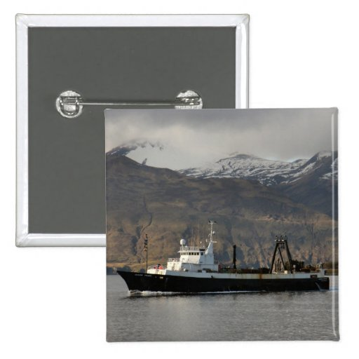 Ocean Peace, Factory Trawler in Dutch Harbor, AK Pinback Button