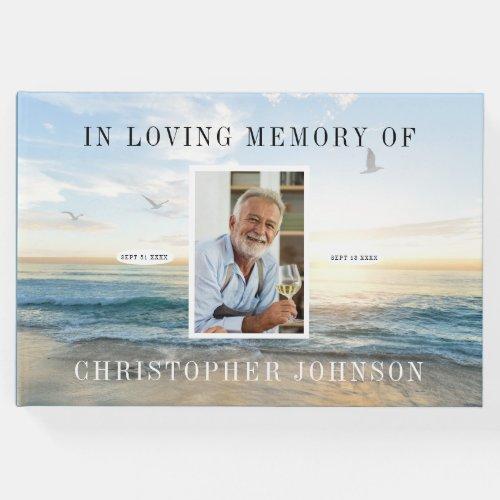 Ocean Photo Funeral Guest Book