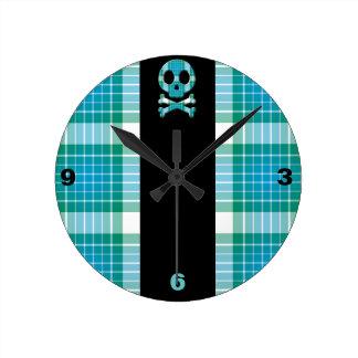Ocean Plaid Skull Round Wall Clocks