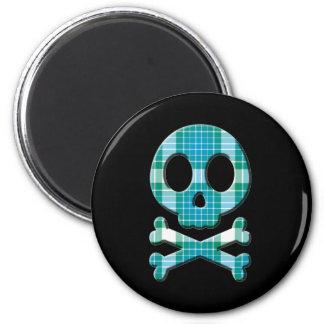 Ocean Plaid Skull Fridge Magnets