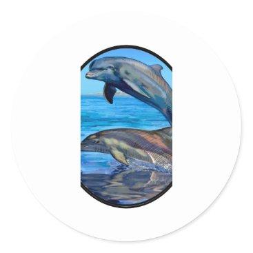 Hawaiian Themed Ocean Playmates Classic Round Sticker