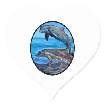 Hawaiian Themed Ocean Playmates Heart Sticker