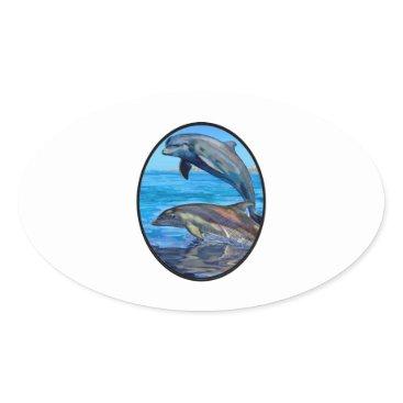 Hawaiian Themed Ocean Playmates Oval Sticker