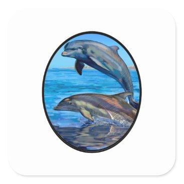 Hawaiian Themed Ocean Playmates Square Sticker
