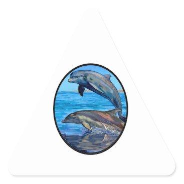 Hawaiian Themed Ocean Playmates Triangle Sticker
