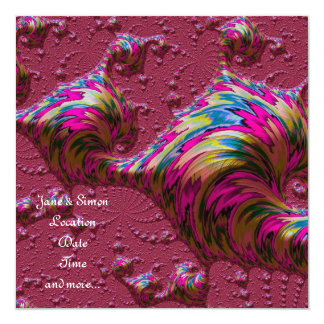 ocean,red special fractal 5.25x5.25 square paper invitation card