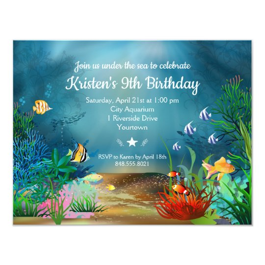 ocean reefunder the sea birthday party invitation zazzle com