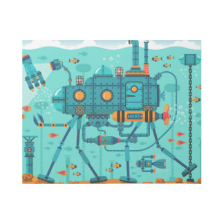 Ocean Robot Colorful Illustration Gallery Wrap