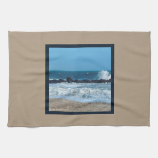 ocean rocks beach Jersey Shore kitchen towel