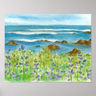 Ocean Rocky Coastline Purple Lupines Poster