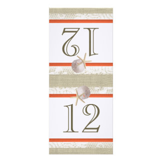 Ocean Romance Burlap and Lace Coral Table Number Invite