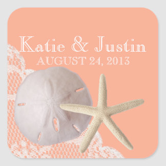 Ocean Romance Sand Dollar and Starfish Square Sticker