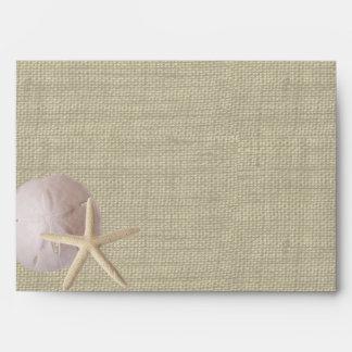 Ocean Romance Starfish and Sand Dollar Envelope