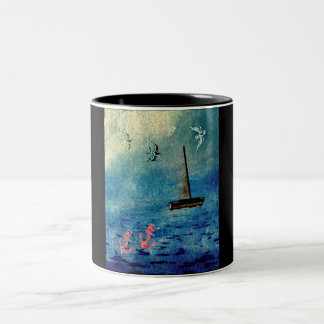 Ocean Sailboat Anchors Blue on Black Swallows Mug