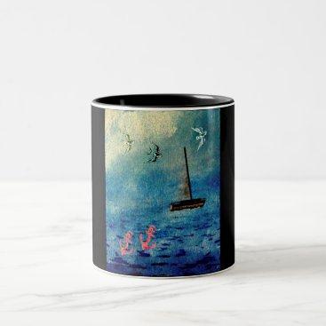 Beach Themed Ocean Sailboat Anchors Blue on Black Swallows Mug