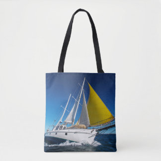 Ocean Sailing In A Yacht Tote Bag