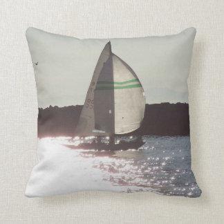 Ocean Sailing Sailboats Boats Harbor Sea Marina Throw Pillow