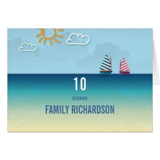 Ocean Sand Beach Theme Wedding Table Numbers Card