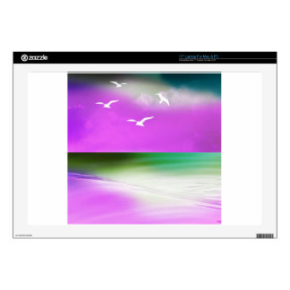 """ocean sand clouds gulls decal for 17"""" laptop"""
